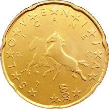 Monnaie 20 centimes cent cts euro Slovénie 2007, neuves du rouleau, UNC