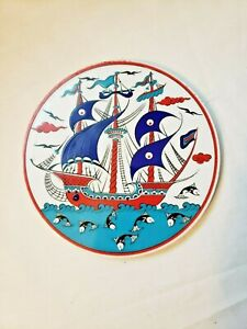 "Trivet Turkish Handmade Ceramic Kitchen Hot Plate Ship Boat Sea Blue 6"" Round"