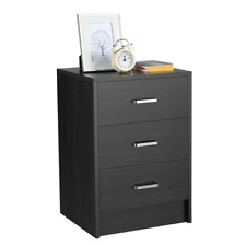 Bedroom Night Stand Dresser Cabinet Sofa Side End Table with 3 Drawers Black