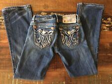 "Women's/Junior's MEK Denim ""Lagos"" Boot Cut Low Rise Distressed Jeans 24X34"