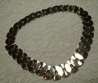 VINTAGE SHINY GOLD TONE FANCY CIRCLE LINK CHAIN CHOKER NECKLACE 18 INCH
