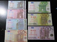 FANTASY NOTES, CHINA BANK, EUROPE  5,10,20,50,100.200 and 500 EUROS SET,7 PCS