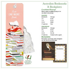 """Just One More"" Cat on Books bookmark with tassel"