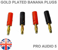 4x Gold Plated Banana Plugs 4mm QUALITY For Speaker Wire Amplifier 2 Pair - UK