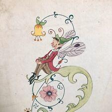 Fairy Elf Drawing Illustration Pencil Ink Vtg Mid Century Signed Chick