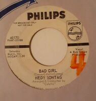 Girl Group POPCORN - HEDY SONTAG He Never Came Back / Bad Girl PROMO PHILIPS 45