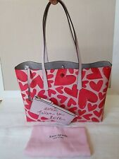 NWT Kate Spade Ever Fallen MOLLY LARGE Tote Bag Pink Hearts Detachable Wristlet