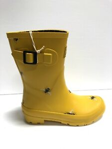 Joules Womens Molly Welly Rain Boots Yellow Size US7 M