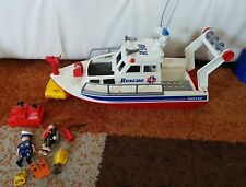 PLAYMOBIL COSTAL SEARCH/RESCUE BOAT+DINGY ,DIVER+EQUIPMENT 3941 VGC