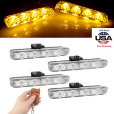 Car Yellow Police Strobe Flash Warning Light Dash Emergency Flashing Light Lamps