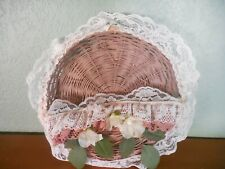 Country Wicker Letter Bill Mail organizer Holder Wall Rack storage Basket Lacey