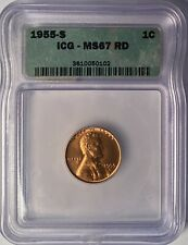1955-S LINCOLN CENT ICG MS67 RD RED — NO RESERVE!!