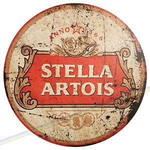 Circle Wooden Signs - STELLA ARTOIS Mancave Vintage Retro Wood Bar Pub Wall Sign