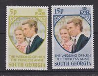 1973 Royal Wedding Princess Anne MNH Stamp Set South Georgia SG 38-39