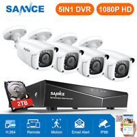 SANNCE Full 1080P 4CH DVR 2MP Video Outdoor 3000TVL CCTV Security Camera System