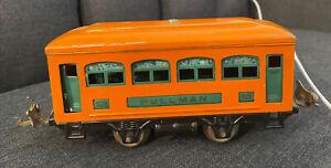 Lionel #629 Prewar O Gauge  Pullman Train Car Antique / Vintage Orange