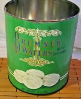 Vintage Bremner Biscuit Company Wafers Green Collectors Tin Round Container