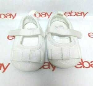 Carter's Girls Soft Sole Mary Jane Dress Crib Shoe Glitter OFF WHITE NB New Born