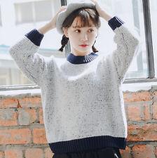 Korean Women Sweet Blending Color Matching Sweater Round Collar Knitted Wear