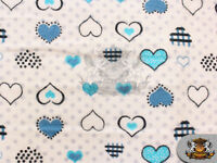 """Cotton Flannel POLKA DOTS HEARTS BLUE Fabric / 45"""" Wide / Sold by the Yard"""
