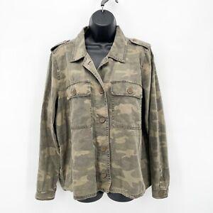 LUCKY BRAND Women's Green Camo Print Button Up Field Jacket Shirt Sz L