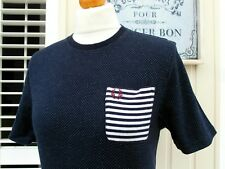 Fred Perry Navy Polka Dot Unisex Crew Neck T-Shirt - XXS - UK 10/ EUR 38/ USA 6