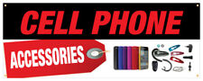 Cell Accessories Banner iPhone Chargers Cases Battery Retail Store Sign 24x72