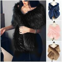 Women Winter Faux Fur Scarf Neck Shawl Stole Warm Wrap Shrug Extra Large Scarves