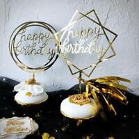 1/5PCS Happy Birthday Cake Topper Cards Acrylic Cupcake Party Decor Supply Love