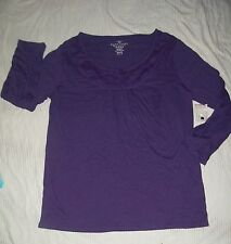 M henley top shirt PURPLE smocked 1 button lace neck 100% cotton womens 8 10