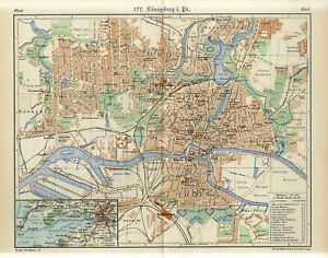 1920s GERMANY KONIGSBERG CITY PLAN now KALININGRAD RUSSIA Antique Map