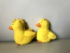 2 Vintage Fabric Duck Finger Puppets