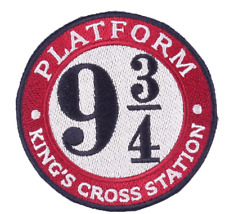 """Harry Potter Platform 9 3/4 Kings Cross Station 3"""" Iron/Sew On Embroidered Patch"""