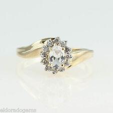 Donna 'S 0.25 ct. Diamante & Topazio Bianco MIX ANELLO 14k oro giallo misura
