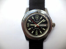 CLINTON DIVER WATCH MEN'S AUTOMATIC BLACK DIAL DAY & DATE RED SECOND HAND RUNS