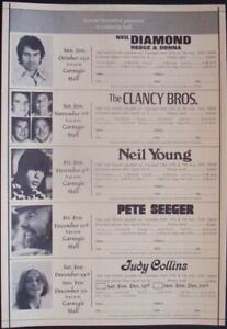 NEIL YOUNG NEIL DIAMOND JUDY COLLINS NEW YORK concert poster 1970 9x17 NM