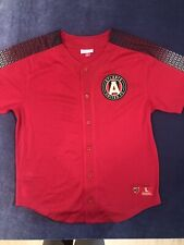 Atlanta United Fc Mesh Button Up Soccer Jersey Mitchell And Ness Authentic