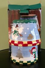 WILTON Aroma Accents Candle Lamp Country Snowman Holds 4-5 oz Jar Candle Holder