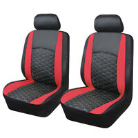 Universal 2 Front Car Seat Covers red PU Leather Cushioned Breathable Waterproof