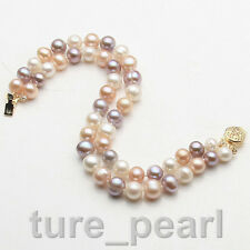 AAA+ 2 Rows 7-8mm Genuine multicolor Natural Freshwater Akoya Pearl Bracelet 7.5