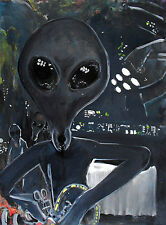 'Alien Dissection' Limited Signed Print 12x16 -UFO, space painting, original art