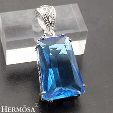 75% OFF Hermsoa London Blue Topaz Exotic 925 Sterling Silver Necklace Pendant