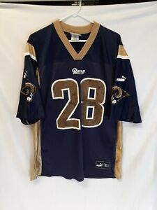 VINTAGE Marshall Faulk NFL St. Louis Los Angeles RAMS Puma Blue/Gold Jersey sz L
