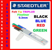 STAEDTLER◉#334 4 x BLACK BLUE GREEN RED TRIPLUS FINELINER PEN◉0.3mm FELT TIP◉ART