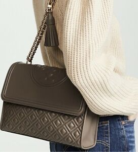 Authentic Tory Burch Large Fleming Crossbody Purse in Silver Maple
