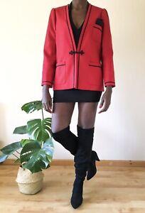 Windsmoore Ladies Blazer red and black vintage 80's evening formal UK 12 wool