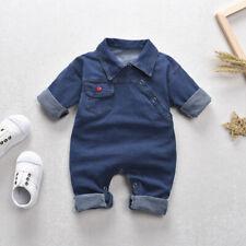 Newborn Baby Boy Girls Clothes Plaid Romper Bodysuit Tops Jeans Outfits Jumpsuit