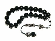 0243 Loose Strung Prayer Beads Worry Beads 21 x 10mm Black Agate / Buddha Heads