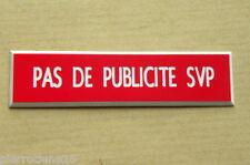 """plaque de boite aux lettres  """"PAS DE PUBLICITE SVP"""" STOP PUB finition biseautée"""