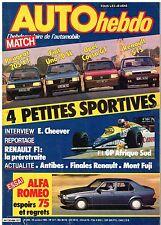 A17-Auto Hebdo N°494 Peugeot 205 XT Fiat Uno 70 SL Opel Corsa GT Renault 5 TS
